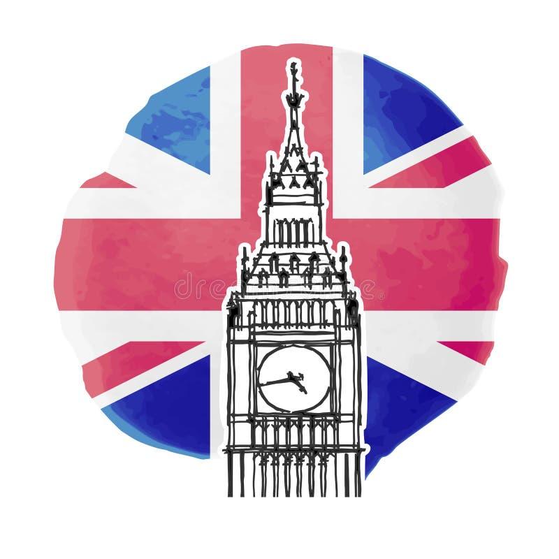 Big Ben. Illustration of Big Ben on the background of british flag vector illustration