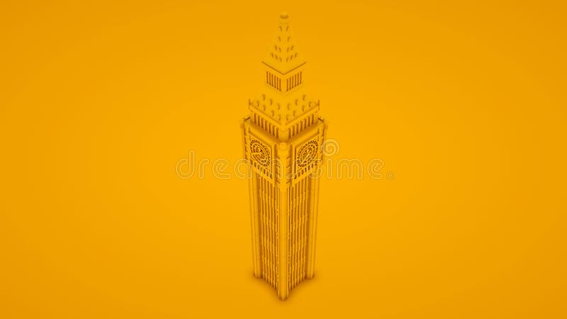 Big Ben Isolated. Minimal idea concept. 3d illustration royalty free illustration