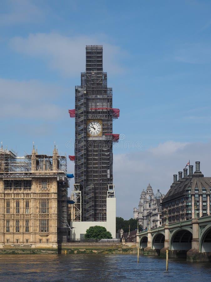Big Ben konserwaci pracy w Londyn zdjęcie royalty free