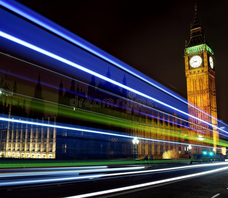 Big Ben Light Trails royalty free stock images