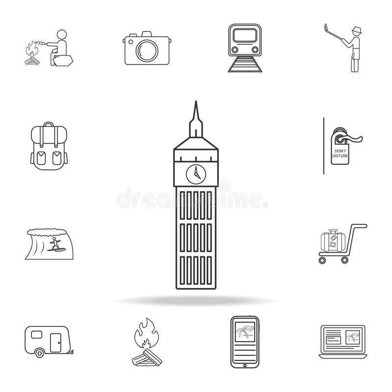 Big Ben line icon. Set of Tourism and Leisure icons. Signs, outline furniture collection, simple thin line icons for websites, web stock illustration