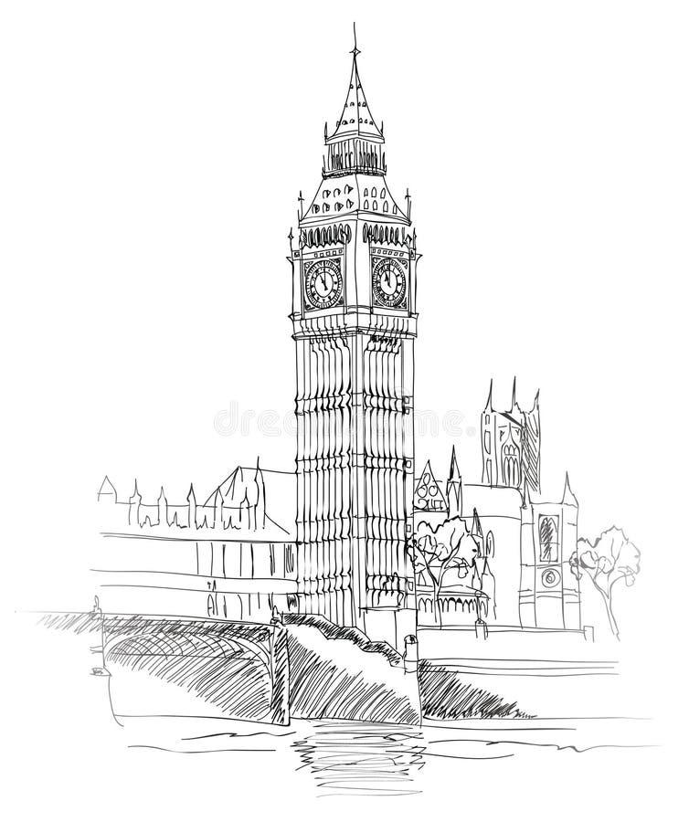 Big Ben, Londen, Engeland, het UK. De ouderwetse achtergrond van reiseuropa. stock illustratie