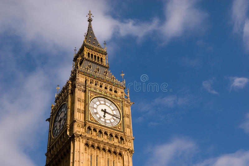 Big Ben of London. The Big Ben, one of London's most visited and photographed landmarks, seen against blue sky royalty free stock photography