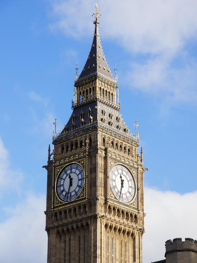 Big Ben In London With Blue Sky And Clouds Stock Photos