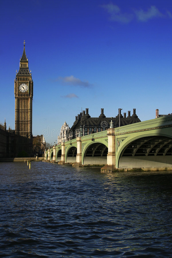 Big Ben London with Blue Sky stock photography