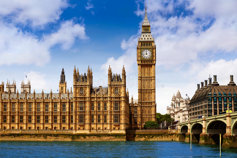 Big Ben London Clock tower in UK Thames. River stock image