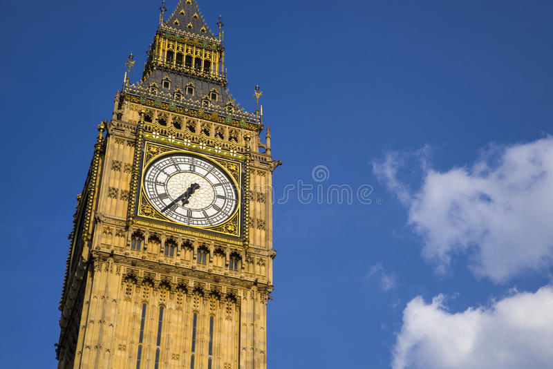 Big Ben in London. The Elizabeth Tower, which contains the iconic bell named Big Ben, at the Houses of Parliament in London stock image