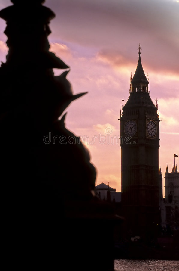 Big Ben- London, England. Clock Tower (known as Big Ben) of the 19th century neo-gothic Houses of Parliament on the River Thames- London, England stock image