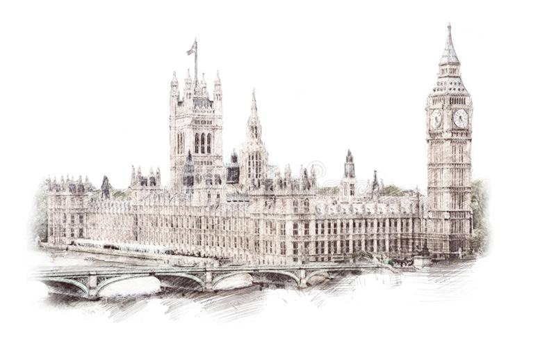 Big Ben, London, England, UK. Hand Drawn Illustration. Isolated stock illustration