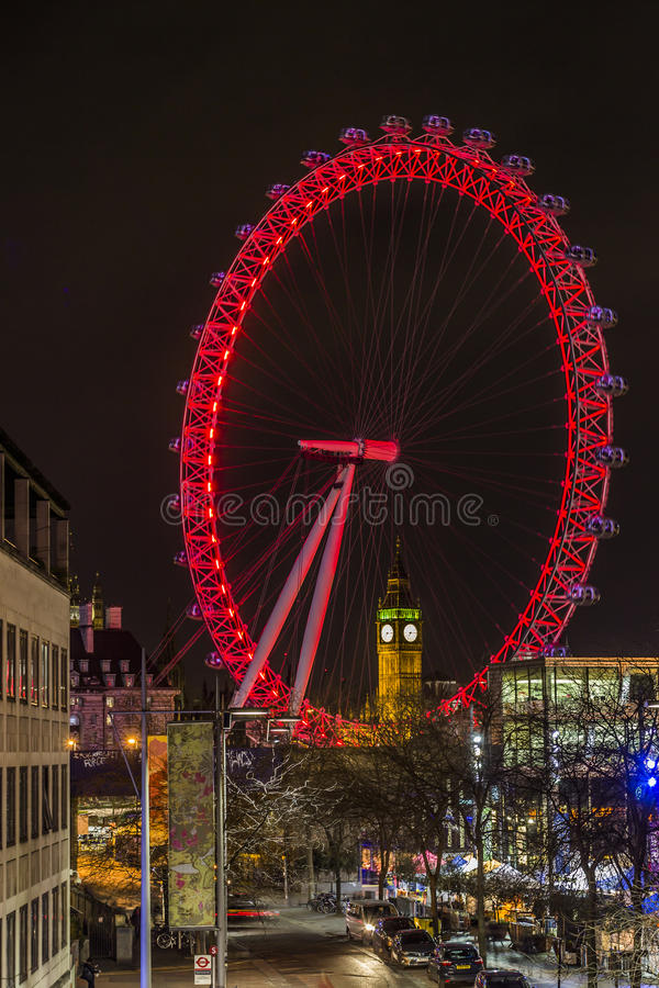 Big Ben through London Eye by night stock photos