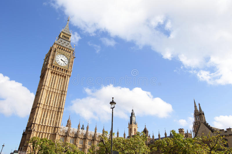 Big Ben in London. Famous building Big Ben in London with cloudy royalty free stock image
