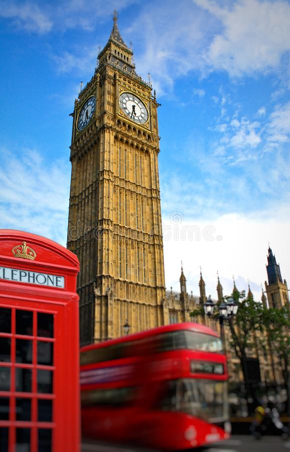Big Ben Houses of Parliament London. An photo showing Big Ben a landmark clock tower in the British Houses of Parliament building which are part of the Palace of royalty free stock photos