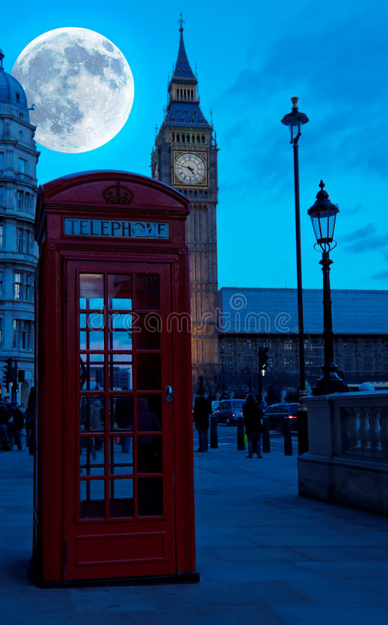 The Big Ben In London Ith A Bright Full Moon Stock Photo