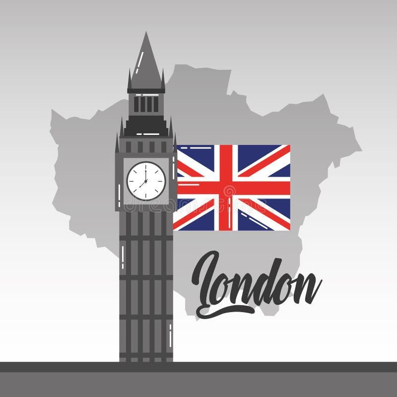 Big Ben London mapa i chorągwiany brytyjski punkt zwrotny royalty ilustracja