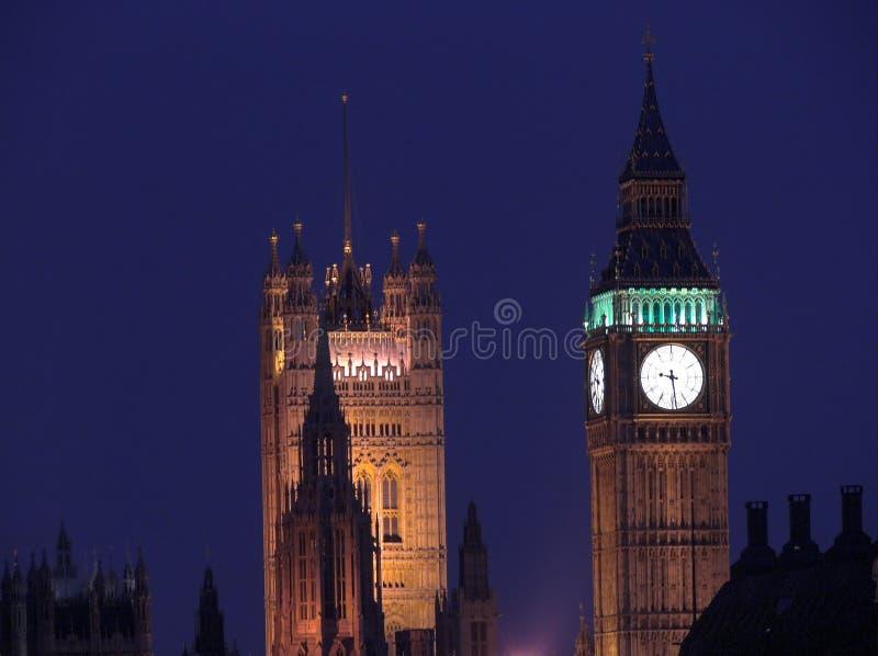 Big Ben in London at night stock photo
