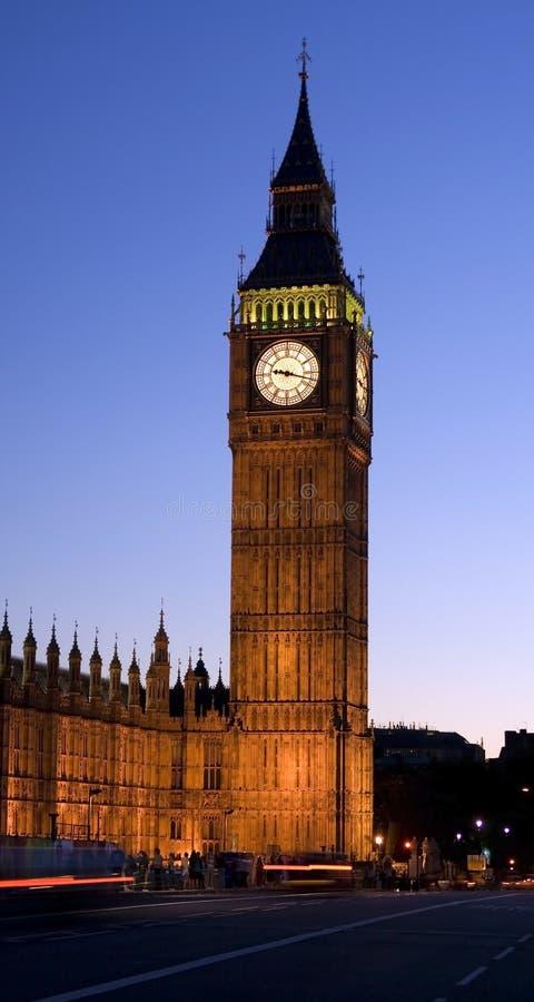 Big Ben in London at night. stock image