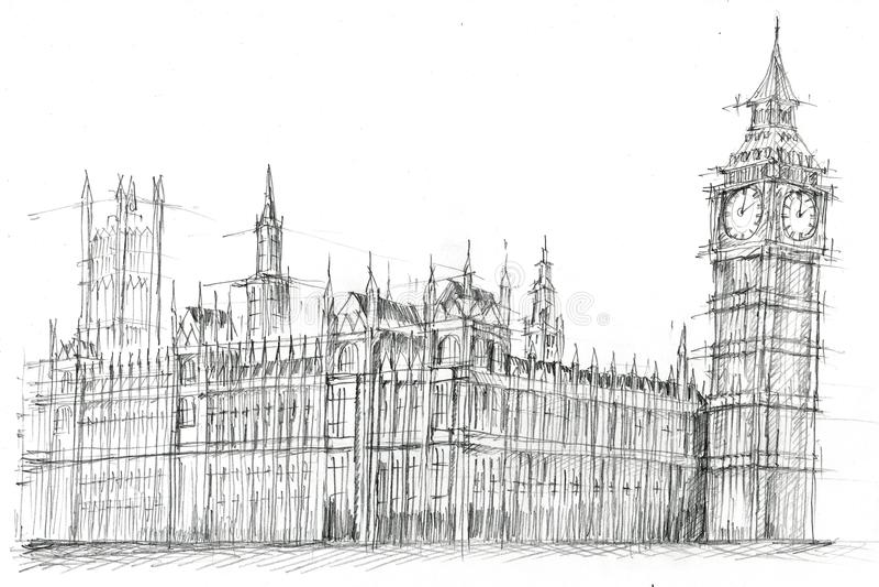 Big Ben London Pencil Drawing. Pencil drawing of Big Ben, London royalty free illustration