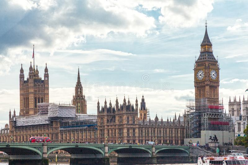 Big Ben, London during sunny day stock photo