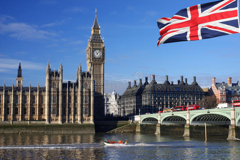 Big Ben, London, UK. Big Ben with flag of England, London, UK stock images