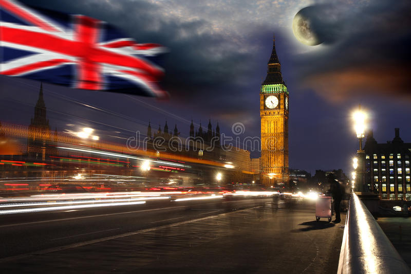Big Ben, London, UK. Big Ben with bridge in the night, Westminster, London, UK stock photography