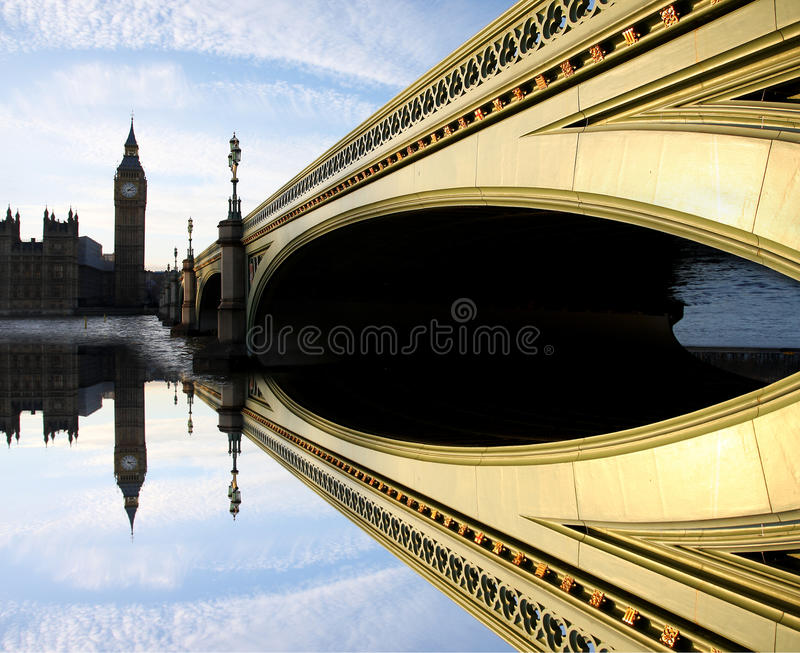 Big Ben, London, UK. Big Ben with bridge, Westminster, London, UK royalty free stock images