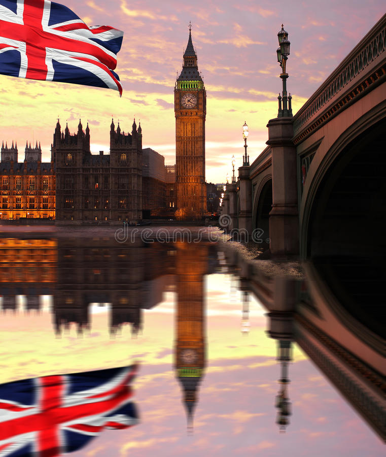 Big Ben, London, UK. Big Ben with flag of England, London, UK stock photography