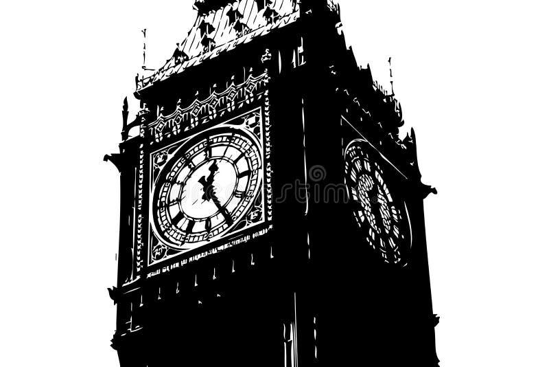 Big Ben London UK. An illustration showing Big Ben the clock in London UK by the river thames royalty free illustration