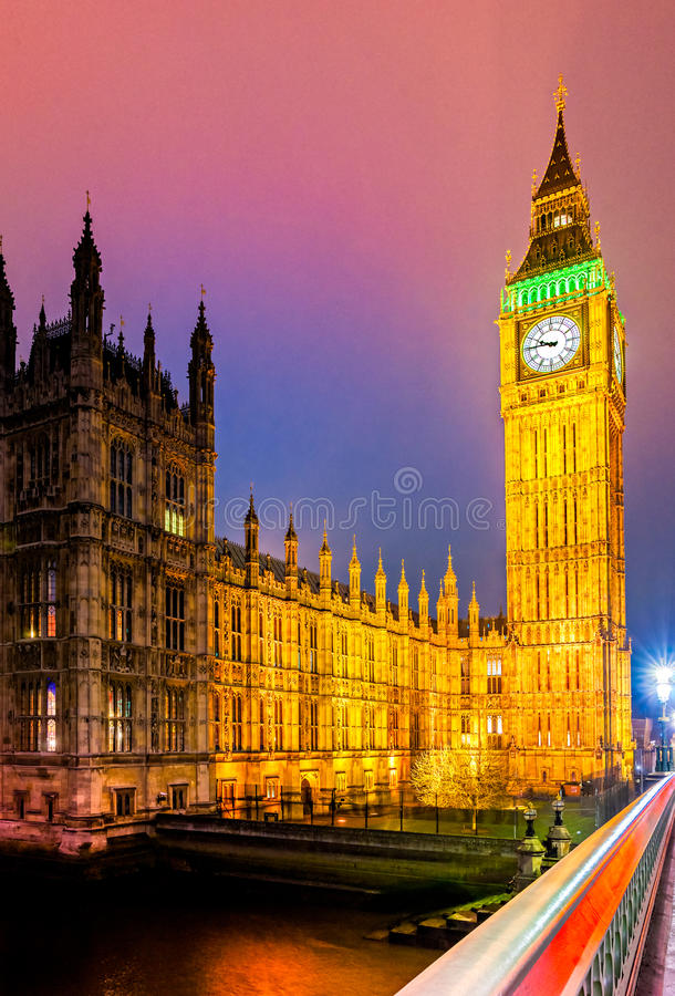 The Big Ben, London, UK. The Big Ben, the House of Parliament and the Westminster Bridge at night, London, UK stock images