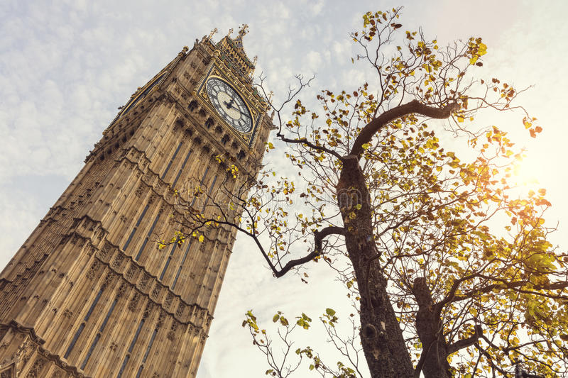 Big Ben in London UK. Low angle in autumn sunshine stock photography