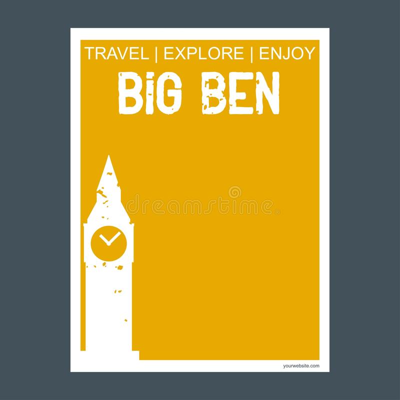 Big ben London, UK monument landmark brochure Flat style and typography vector royalty free stock images