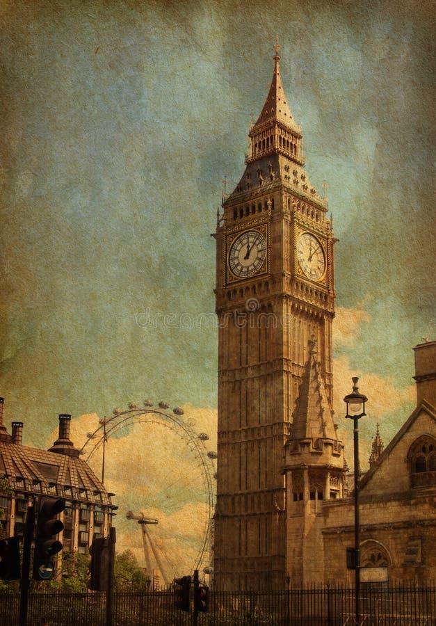 Big Ben. Big Ben, London, UK. View from Abingdon street. added paper texture vector illustration