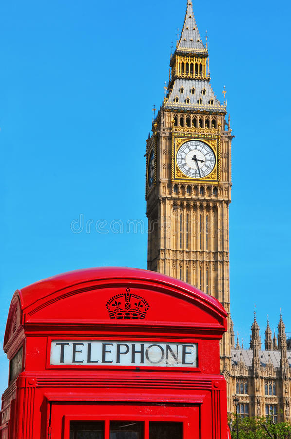Big Ben, London, United Kingdom. A view of Big Ben and a classic red phone box in London, United Kingdom stock images