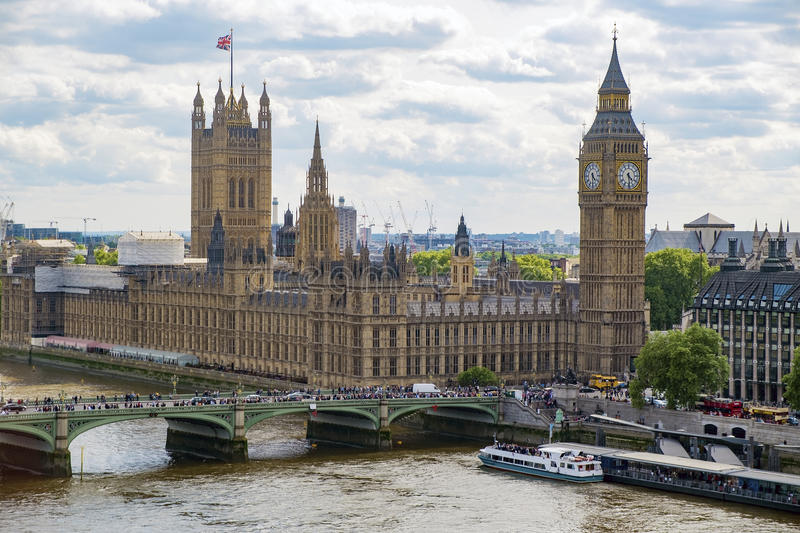 BIG BEN London. View of the houses of Parliament and Big Ben with the River Thames in the foreground royalty free stock photography