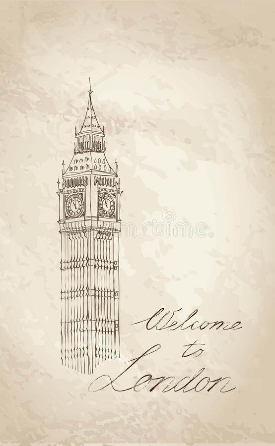 Big Ben, Londres, Angleterre, R-U. Fond d'old-fashioned de l'Europe de voyage. illustration libre de droits