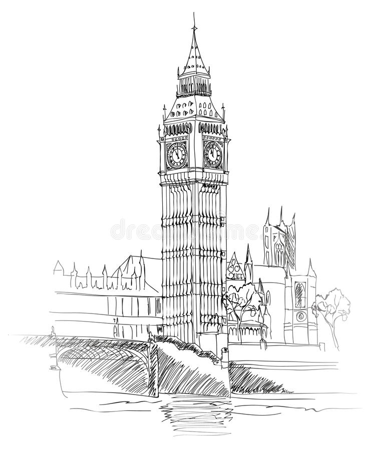 Big Ben, Londres, Angleterre, R-U. Fond d'old-fashioned de l'Europe de voyage. illustration stock