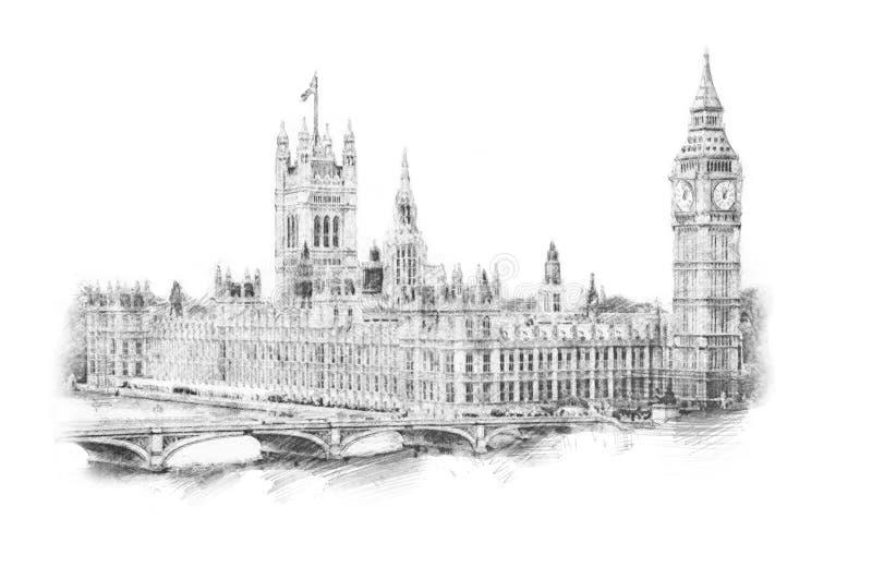 Big Ben, Londres, Angleterre, R-U Illustration tirée par la main D'isolement sur le fond blanc Showplace historique pour la copie illustration libre de droits