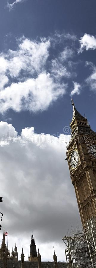 Big Ben from the metro station. The Big Ben seen by the metro station exit, sunny day of August, a clear view of its clock and the house of the parliament stock photography