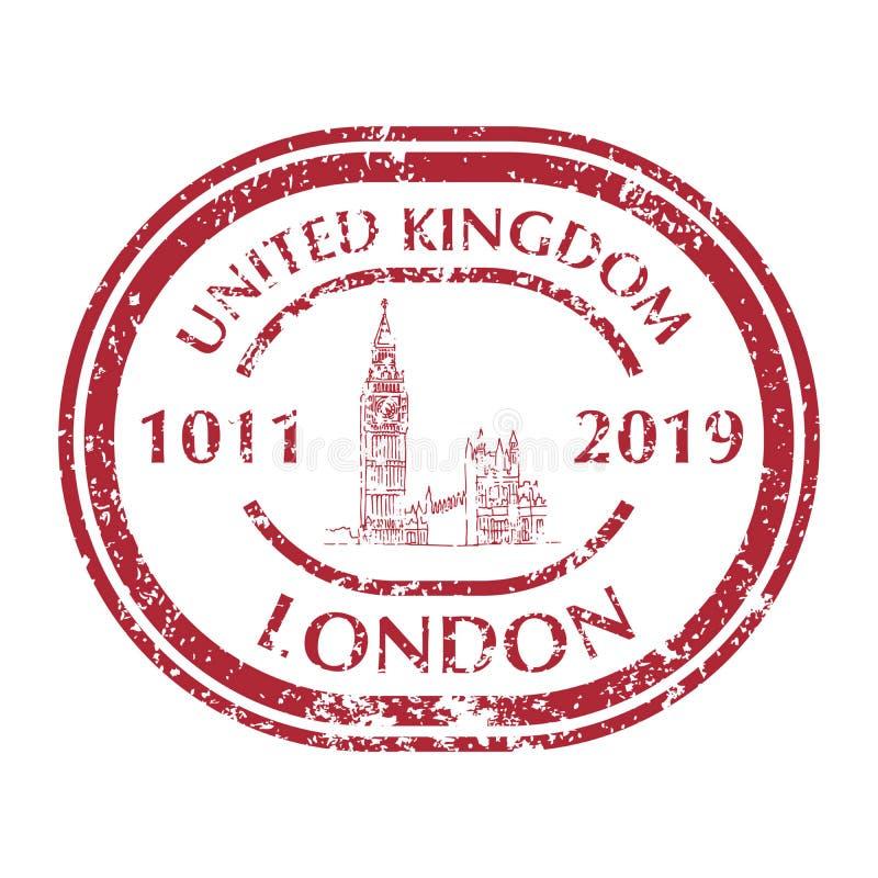 Big Ben na Grunge Pocztowym znaczku royalty ilustracja