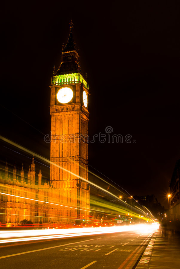 Big Ben nachts stockfotos