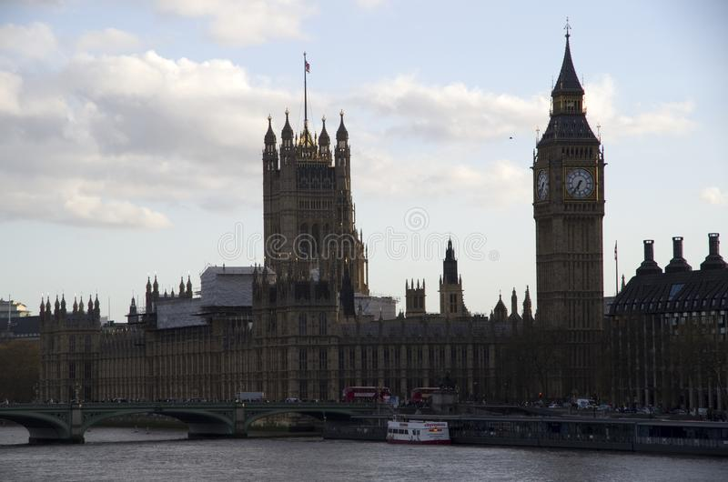 Palace of Westminster and Big Ben. Big Ben is the nickname for the Great Bell of the clock at the north end of the Palace of Westminster in London royalty free stock photos