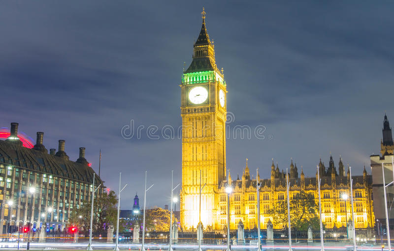 The Big Ben at night , England, UK. royalty free stock photo