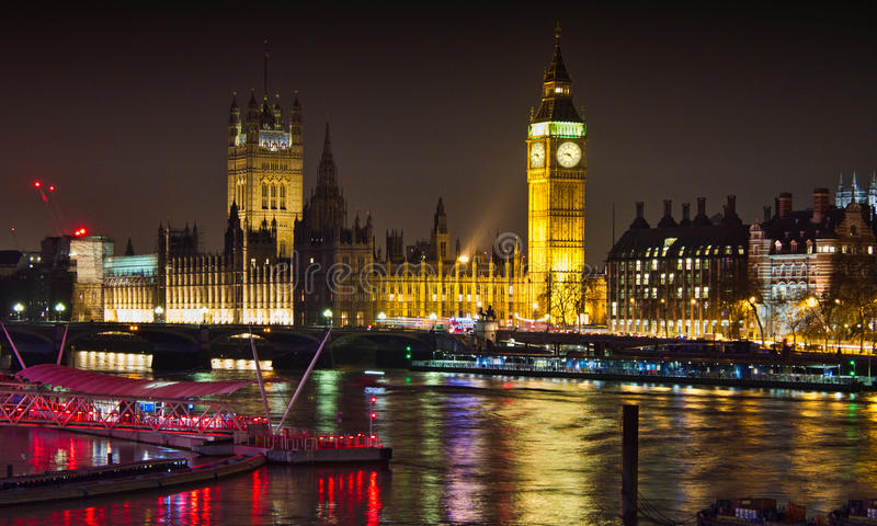 Big Ben at night. Image of Big Ben and the Houses of Parliament in London taken at night. Landscape image. Taken March 2014. Colour image with relections in the royalty free stock photos