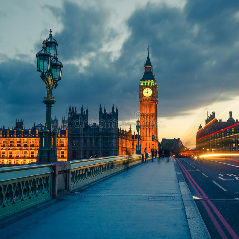 Big Ben at night, London royalty free stock image