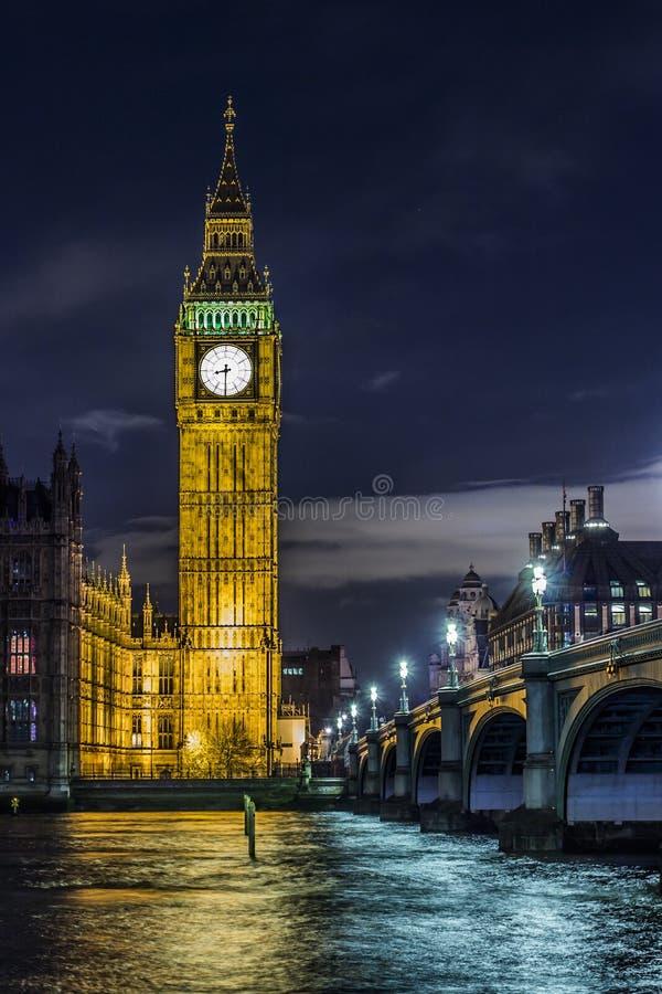 Big Ben Clock Face At Night In London royalty free stock photography