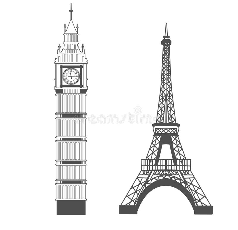 Big Ben och Eiffeltorn royaltyfri illustrationer