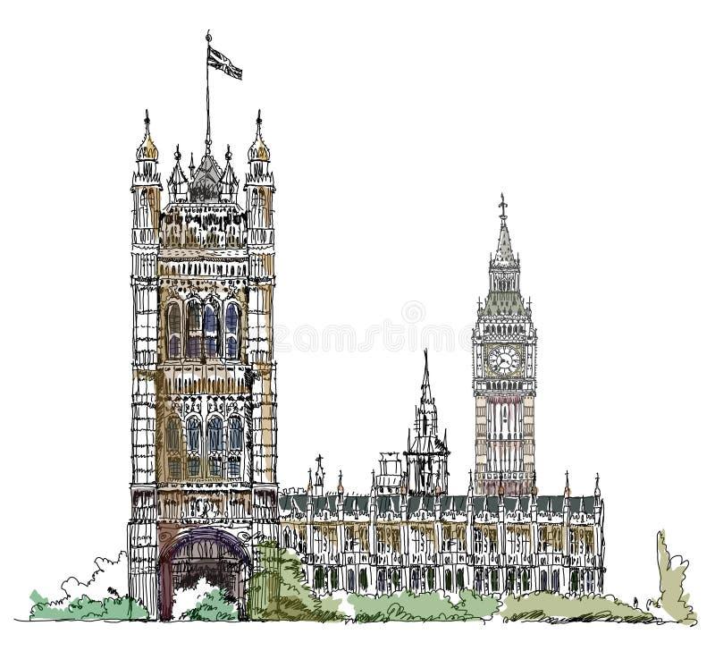 Big Ben och parlamentet står högt i London, skissar samlingen, den Buckingham Palace porten vektor illustrationer