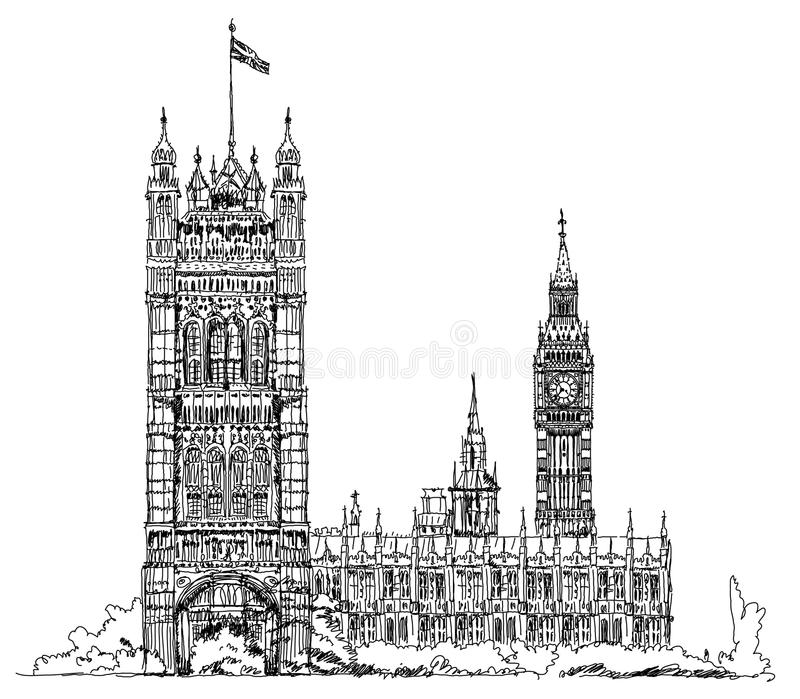Big Ben och parlamentet står högt i London, skissar samlingen, den Buckingham Palace porten royaltyfri illustrationer
