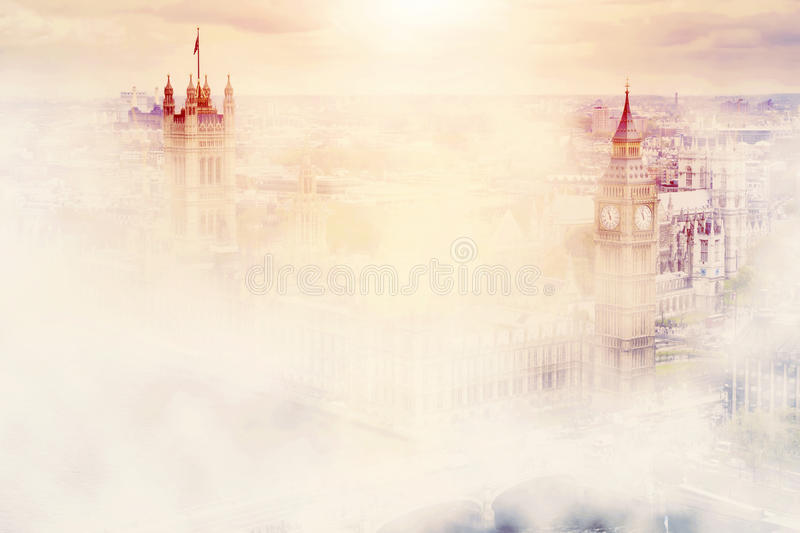 Big Ben, the Palace of Westminster in fog. London, UK. vector illustration
