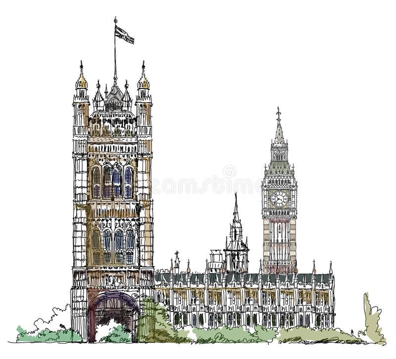 Big Ben and Parliament tower in London, sketch collection, Buckingham palace gate. Big Ben and Parliament tower. London, sketch collection vector illustration