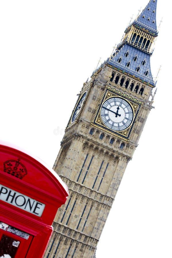 Big Ben Phone Box. Phone box and Big Ben, London England royalty free stock photos